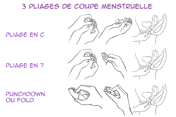 3 pliages de coupe menstruelle