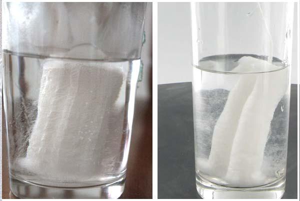 tampon dans un verre d'eau