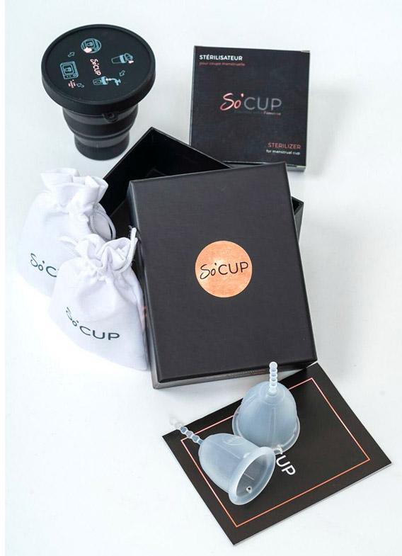 Pack composé de 2 cups Socup et d'un stérriisateur