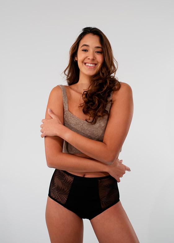 Culotte menstruelle taille haute ultra absorbante avec de la dentelle